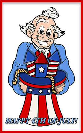Uncle Sam Celebrating The 4th Of July With Fireworks. Happy 4th Of July  Animation