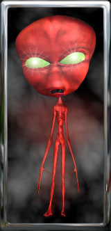 red space alien with shiny green eyes