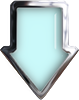 light blue glass down arrow with chrome trim