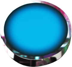 round blue button with chrome and back tilt