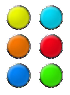 set of 6 buttons round glass with chrome
