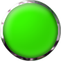 green glass button with chrome trim