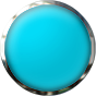 round button light blue with chrome trim