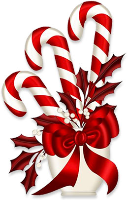 candy canes ribbons