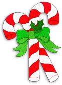 2 candy canes with bow and holly