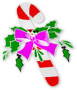 fat candy cane with holly and bow