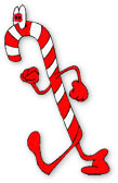 red and white candy cane on the move