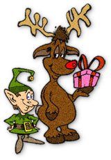 rudolph with an elf and carrying a gift