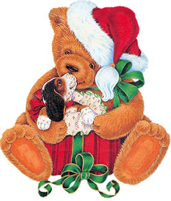 Christmas bear with a puppy