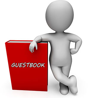red guestbook with 3d figure