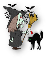 witch with broom, black cat and bats