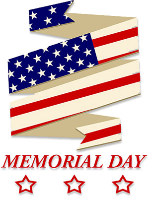 Memorial Day with American flag ribbon