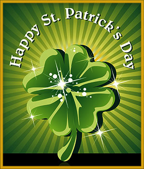 Happy St. Patrick's Day with 4 leaf clover