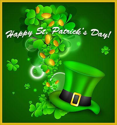 Happy St. Patrick's Day with shamrocks