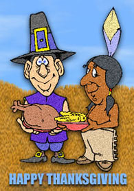 happy thanksgiving with pilgrim and indians